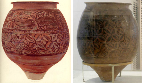 Harappan jars with the Cownose pattern © Dakshayini (left), Ismoon (right)